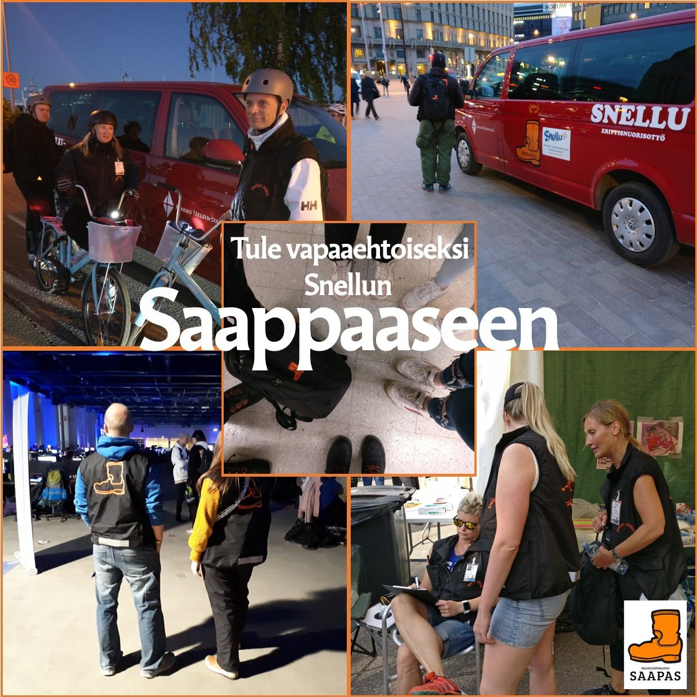 Neljä kuvaa saapaspäivystyksistä. Parissa ollaan kadulla, yhdessä festareilla. Kuvissa vapaaehtoisia ja Saapas-auto.